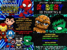 Custom themes and characters. Paw Patrol Invitations, Custom Party Invitations, Superhero Invitations, Disney Invitations, Digital Invitations, Printable Invitations, Chibi Superhero, Superhero Party, Party Themes