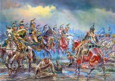 9th Cuirassier Regiment in the battle of Dresden (26–27 August 1813), by A. F. Telenik