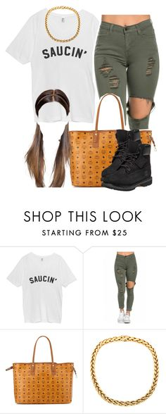 """""""Bouta to start off this year with a bang"""" by trillest-queen ❤ liked on Polyvore featuring MCM and Timberland"""
