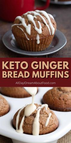 These delicious almond flour muffins have a sweet kick of ginger and a sugar free vanilla drizzle. If you love gingerbread, you've got to try this tender keto muffin recipe!