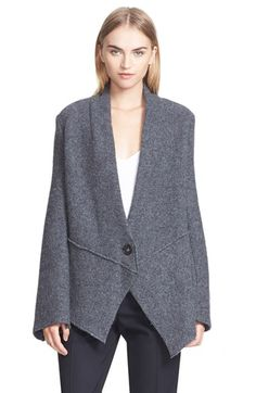 "Free shipping and returns on Stella McCartney Boiled Wool Blend Jacket at Nordstrom.com. <p><B STYLE=""COLOR:#990000"">Pre-order this style from the Fall 2015 collection! Limited quantities. Ships as soon as available. You'll be charged only when your item ships.</b></P><br>Angled panels fashion the asymmetrical hemline of this boiled wool-blend jacket for a look that's structured, yet undone. Dropped shoulders and extended flared sleeves further the style's chic nonchalance."