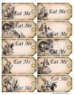 Alice in Wonderland printable gift Hang Tag. Whimsical eat me cheshire cat white rabbit labels stickers. Digital Collage Sheet. k2102. $4.80, via Etsy.