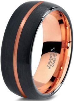 Tungsten Wedding Band Ring 8mm for Men Women Black & 18K Rose Gold Center Line Dome Brushed Polished Lifetime Guarantee