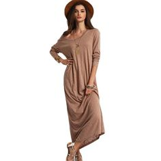 Solid Casual Long Sleeve Shift Maxi Dress Women Autumn New Style Round Neck Loose Basic Dress