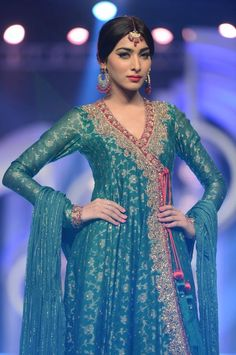 Zaheer Abbas Party Wear Collection 2013 At Pantene Bridal Couture Week - X Pakistani Fashion Clothes Dresses Collection Desi Wedding Dresses, Pakistani Wedding Outfits, Pakistani Bridal Wear, Pakistani Dresses, Indian Dresses, Indian Outfits, Anarkali Bridal, Pakistani Clothing, Party Dresses