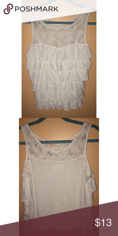 Hollister Ruffled Top Ruffled fancy tank! Great for the summer.  Only worn once but in great condition! Accepting offers. (: Hollister Tops Tank Tops