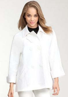bebe Nichele Car Wool Coat Outerwear Winter White