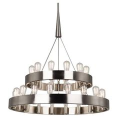 "30-40W Max. Bulb Type: A Direct Wire Only Susp. Hardware: 3 pcs - 5/8"" x 12"" & 1pc - 5/8"" x 6"" Extension Rods  Materials :  Brushed Nickel Finish over Metal or Deep Patina Bronze Finish over Metal#chandelierluxury#chandelierlighting#chandeliercrystal#homedecor#chandelier#livingroom#homeinterior#luxury#affiliate Lustre Industrial, Industrial Chandelier, Modern Chandelier, Modern Lighting, Lighting Design, Transitional Chandeliers, Luxury Lighting, Lighting Ideas, Ring Chandelier"