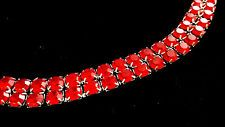 Unsigned WEISS Bracelet Vintage Ruby Red Rhinestone Muliti Strand 4023