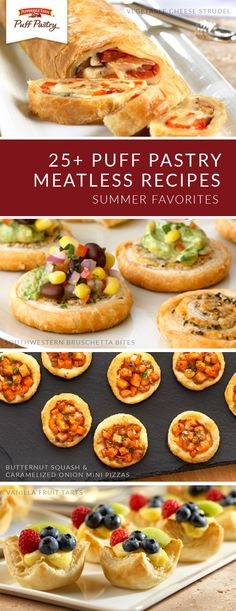 These meatless Puff Pastry recipes aren't just for vegetarians; all of your party guests can enjoy them! Pepperidge Farm® Puff Pastry Sheets form t. Puff Pastry Recipes, Tart Recipes, Vegan Recipes, Puff Pastries, Pepperidge Farm Puff Pastry, Puff Pastry Sheets, Vegetarian Appetizers, Fruit Party, New Fruit