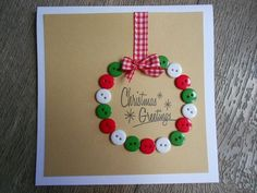 This holiday season hand out these DIY Christmas Cards to your loved ones and tell them how much you care. These Handmade Christmas cards are easy & cheap. Christmas Buttons, Christmas Card Crafts, Homemade Christmas Cards, Christmas Cards To Make, Christmas Greetings, Homemade Cards, Handmade Christmas, Holiday Crafts, Christmas Decorations