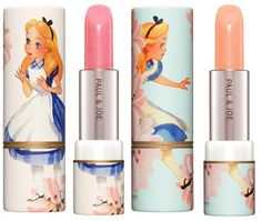 Sweet and simple lipsticks with Alice in Wonderland design by Paul & Joe.