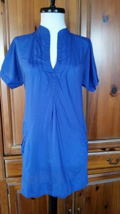 HERITAGE 1981 Tunic Blue Cotton Silk Blouse Dress Short sleeve Mandarin Size S  #HERITAGE1981 #Blouson #Casual