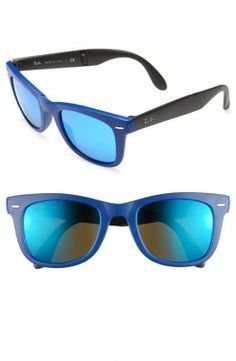 Óculos Ray Ban Folding Wayfarer Sunglasses Matte Blue 50mm #Oculos #RayBan