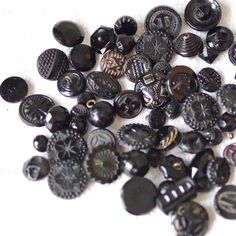 Vintage Antique Black Glass BUTTON Lot of 55 Plus by thelostrooms, $10.00