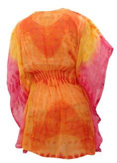 $41 La Leela Pink Orange Tie Dye Printed Tube Cover up KaftanFrom La Leela $41