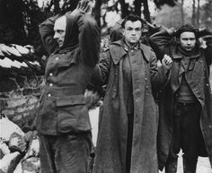 German prisoners captured by paratroopers of the 82nd American Division during the fighting in Belgium.