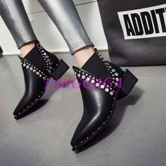Womens Black Rivets Ankle Boots Pointy Toe Low Block Heels Autum Shoes Punk Chic