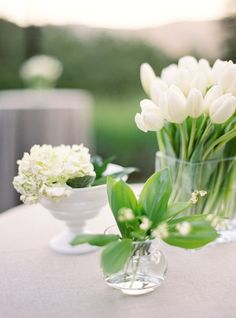 simple, elegant floral centerpieces . Combine different vessels and mix and match for a white wedding. www.celebrationsbykat.com