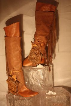 showdiva designs InCrEdiBiLE Tattered Over the Knee Boot Spats with Fringe Leather with Sculpted Rose.