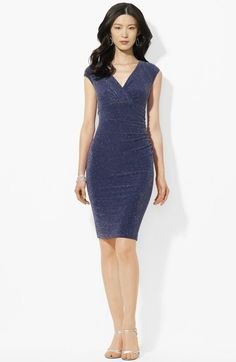 Lauren Ralph Lauren Ruched Shimmer Jersey Dress available at #Nordstrom