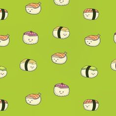My recent sushi-pattern. Are't they yummy?:)