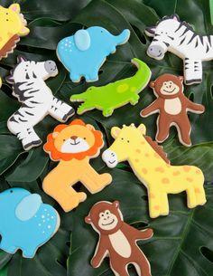 Jungle animal decorate sugar cookies- lion, elephant, zebra, monkey, giraffe, alligator
