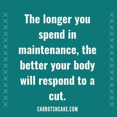 The longer you spend in maintenance, the better your body will respond to a cut. 🙌🏻  Most women spend their lives in a deficit (aka on a diet).   They're always counting calories, tracking steps, and saying 'no' to their favorite foods.  All in the name of losing weight.  But what if I told you, rather than trying to keep your calories low and your cardio high, you could reverse that? Nutrition Program, Nutrition Plans, Carrots N Cake, Macro Nutrition, Cake Blog, How To Eat Less, Calorie Counting, Pina Colada, Health Coach