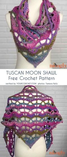 Tuscan Moon Shawl Free Crochet Pattern The one and only Tuscan Sun Wrap has been transformed into a shawl! Great news, right? Girl, obviously! It still looks amazing in ombre yarn that brings the lovely openwork to life. Crochet Shawls And Wraps, Crochet Scarves, Crochet Clothes, Crochet Hats, Unique Crochet, Beautiful Crochet, Diy Crochet, Shawl Patterns, Crochet Patterns