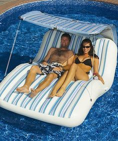 This Cabana Luxury Floating Pool Raft is perfect! #zulilyfinds