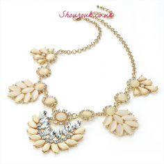 Ivory Sparkle  FAB ! Ivory and Crystal Gem Necklace   Necklace:43cm x  Drop:6cm
