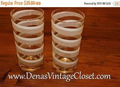25% OFF SALE Vintage George Briard White Spiral Mocha Drinking Glasses Bar Ware Frosted Spiral Mid Century Glass