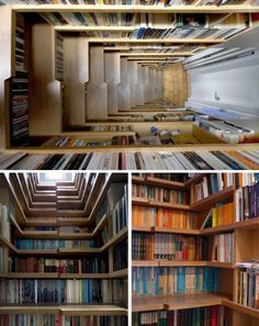 A bookshelf staircase! This is without a doubt going into my future home.