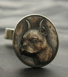 Antique Victorian Boxer Dog Cufflinks Sterling Silver Canine Cuff Links Dark Patina