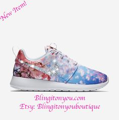 New NIKE ROSHE one Cherry Blossom Women's  bling  shoes gorgeous for spring and summer! by Blingitonyouboutique on Etsy https://www.etsy.com/listing/267895281/new-nike-roshe-one-cherry-blossom-womens