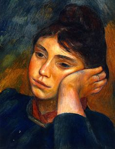"""Original Text: """"Woman Leaning on Her Elbow Pierre Auguste Rodin"""".  My comment: Francois-Auguste Rodin was a French sculptor.  Pierre-Auguste Renoir was a French Impressionist painter.  I'm pretty sure this was done by the latter."""