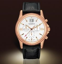 Tavannes watches; pictured: Coin Edge Gents Chronograph Rose Physical Vapor Deposition; $895