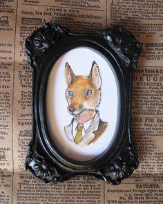 Jennifer Lewis Tiny dapper #fox drawing painting. $30.00, via Etsy.