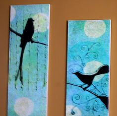 Bird Faux Oil Painting Frugal Wall Art DIY With Tutorial by savedbylovecreations.com