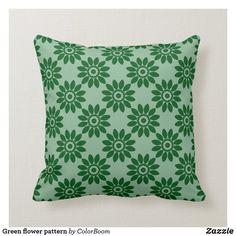 Green flower pattern throw pillow Custom Pillows, Decorative Throw Pillows, Green Cushions, Green Flowers, Flower Patterns, Fabric, Hunter Green, Porch, Design