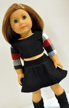 Buffalo Plaid Crop Top with Black Skater Skirt by CircleCSewing
