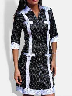 Chacabana Tony Boga negra con puntos blancos Staff Uniforms, Summer Chic, Button Dress, Boss Lady, Shirts For Girls, Frocks, Work Wear, Wrap Dress, Womens Fashion