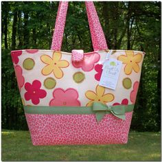Large Diaper Bag  Rose Pink Floral with Animal by aunttscloset, $34.99
