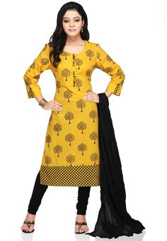 YELLOW COTTON READYMADE KAMEEZ WITH LEGGINGS