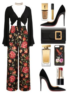 """smell the roses"" by chanelsdoll ❤ liked on Polyvore featuring Christian Louboutin, Yves Saint Laurent, Dolce&Gabbana, Bally, Charlotte Russe and Illamasqua"