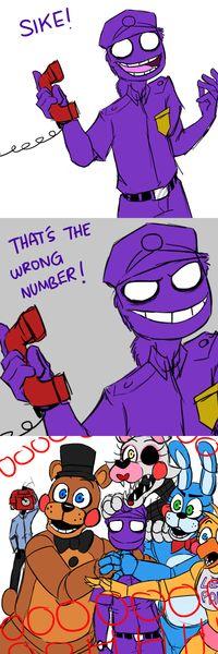 Fnaf purple guy is mlg lol, i love how phone guy is just like, what just happened?