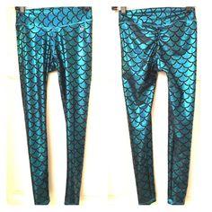 Mermaid fitness leggings/yoga pants Metallic turquoise mermaid pattern, gusset, scrunch booty detail. Worn and washed only once. Abs2b Pants Leggings