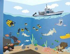Amazon.com - Underwater Ocean Adventures Mural - Kids Room Theme Appliques - Childrens Wall Decor