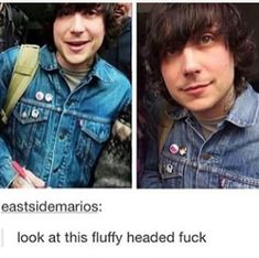 Awww Frankie <<< my hair does this when it's freshly washed i feel special ahhhh Mcr Memes, Band Memes, Frank Iero, Emo Bands, Music Bands, My Chemical Romance, Music Stuff, My Music, Mikey Way