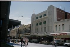 311054PD: L-R: Clarence House, Carroll's Bookshop, Criterion Hotel, Charlie Carters, 556-578 Hay Street, Perth, October 1981 https://encore.slwa.wa.gov.au/iii/encore/record/C__Rb3799986